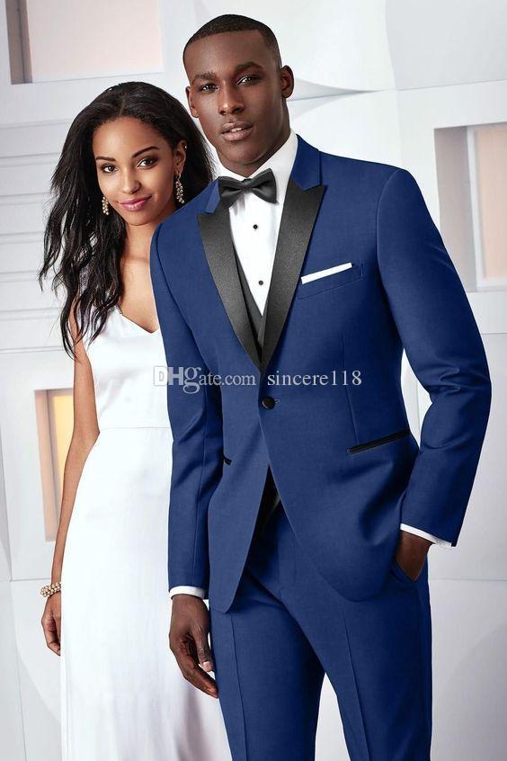 Три пьесы синий вечерние вечеринки мужские костюмы пика отворотом подходят свадебные смокинги на заказ (куртка + брюки + жилет + галстук) W: 470