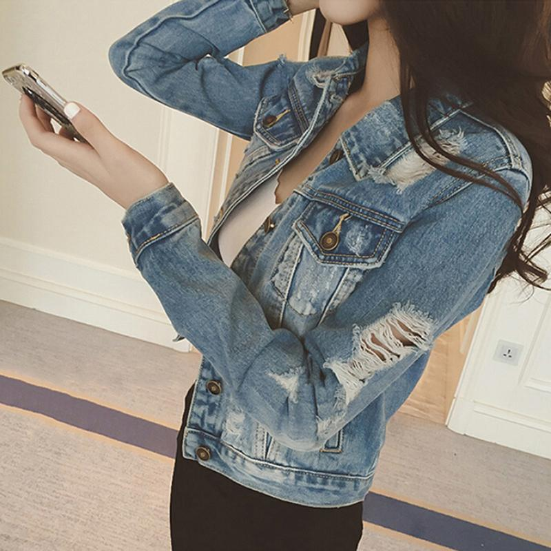 Women Jeans Jacket Denim Coat Casual Outerwear Tops Autumn Long Sleeve Frayed Vintage Jeans Coat Female Chaquetas Mujer Slim