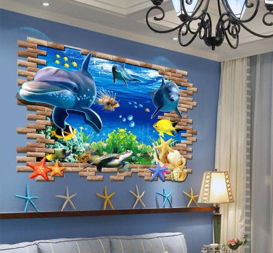 Wall'in çıkartmaları 3D derinlik yanılsaması PVC duvar çıkartma sticker duvar resimleri sanat dekoratör kendinden yapışkanlı çıkarılabilir zürafa köpekbalığı ağaç baskı