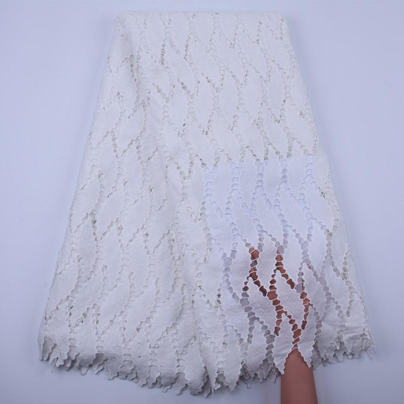 Nigerian Guipure Cord Lace Fabric Embroidery 2020 High Quality Lace White African Cotton Lace Fabric For Wedding Dress Y1835