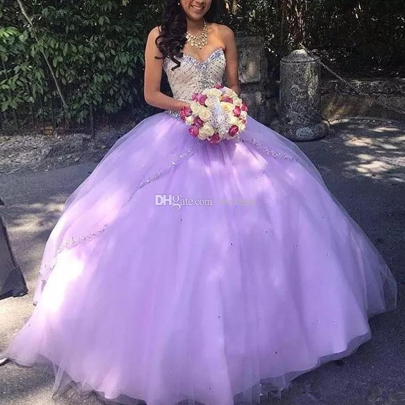 Charme 2019 Lavande Tulle Robes De Quinceanera Chérie Perles Paillettes En Cristal Doux 16 Robes Tulle À Palettes Robes De Débutante 15 Anos