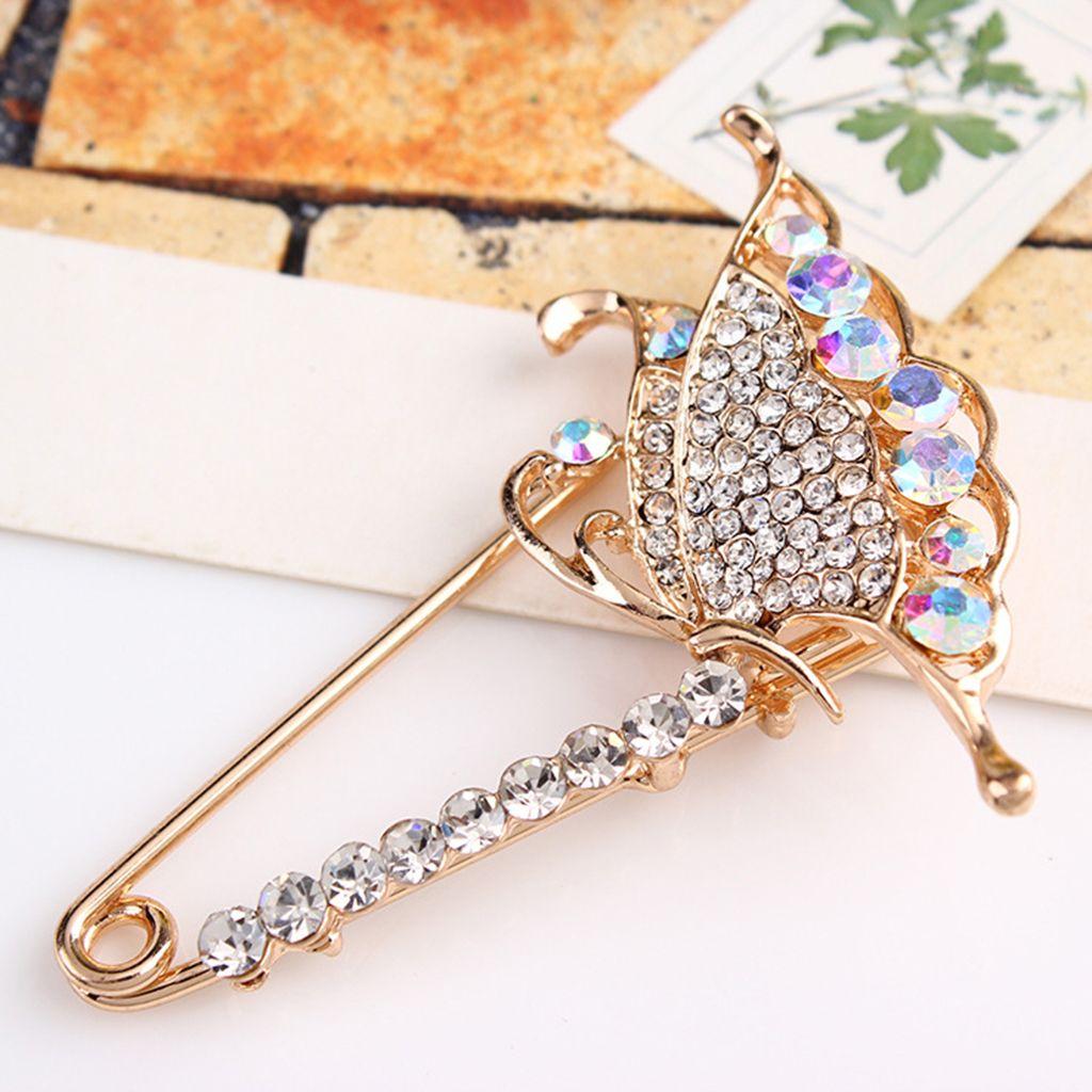 Charms or strass papillon rose Épingle Chapeau Collier clip écharpe Lapel