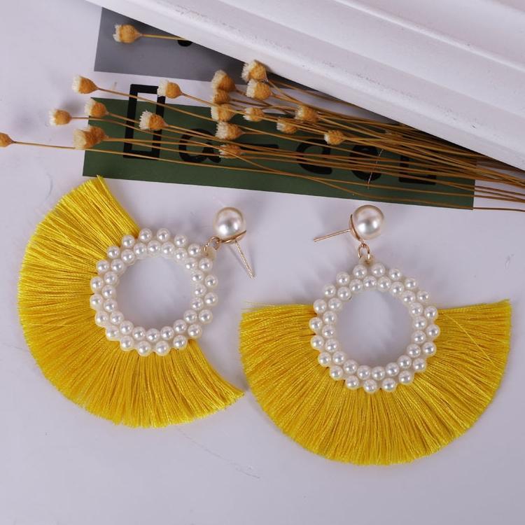 8 Farbe Frauen-Ohrring-rote schwarze Troddel-Perlen-Ohrringe für Frauen-böhmische Modeschmuck Geometric kolczyki Tropfen Ohrringe Großhandel FJJ349