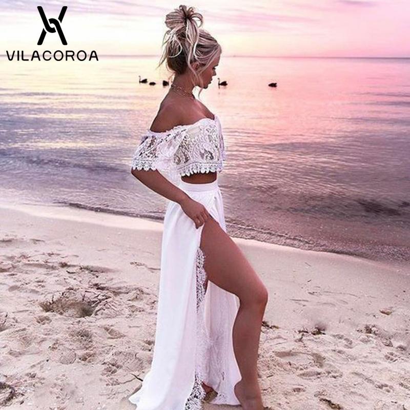 Weiß Sexy Frauen-Partei-Kleid-Spitze weg von der Schulter Split bodenlangen Maxikleid 2 Stück gesetzte lange Boho Kleid vestidos de festa
