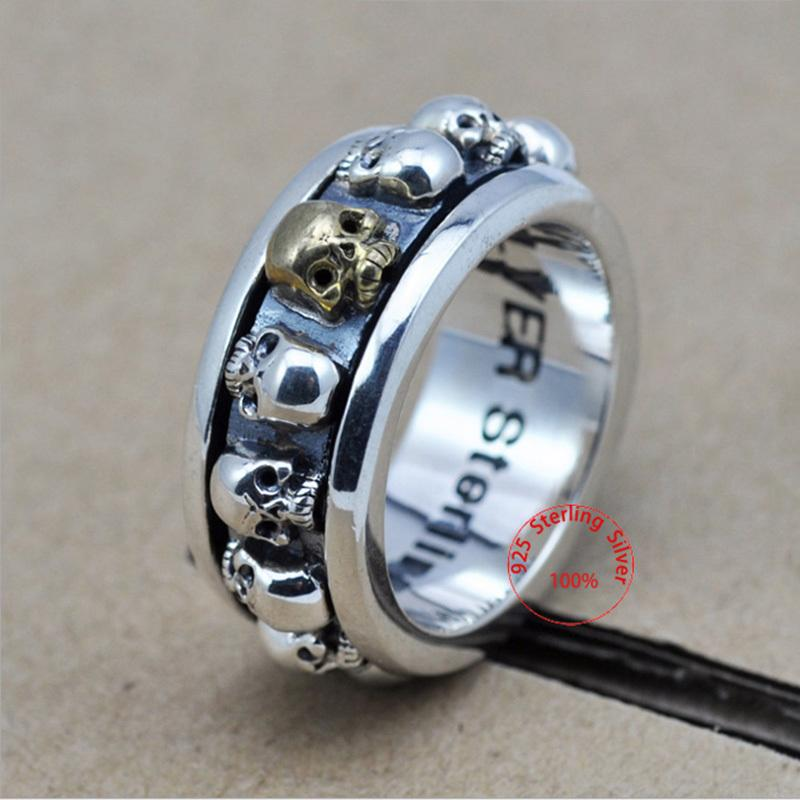 Sterling Silver Jewelry 925 Silver Ring Steampunk Men Rings Rotatable Skull Ghost Thai Silver Ring Men Laser Engrave Name Logo J190715