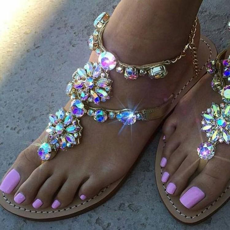 Las mujeres ocasionales sandalias cristalinas de los Rhinestones de Cadenas Tamaño de la correa del gladiador sandalias planas Chaussure Plus plana Plataforma Gladiador Femenino