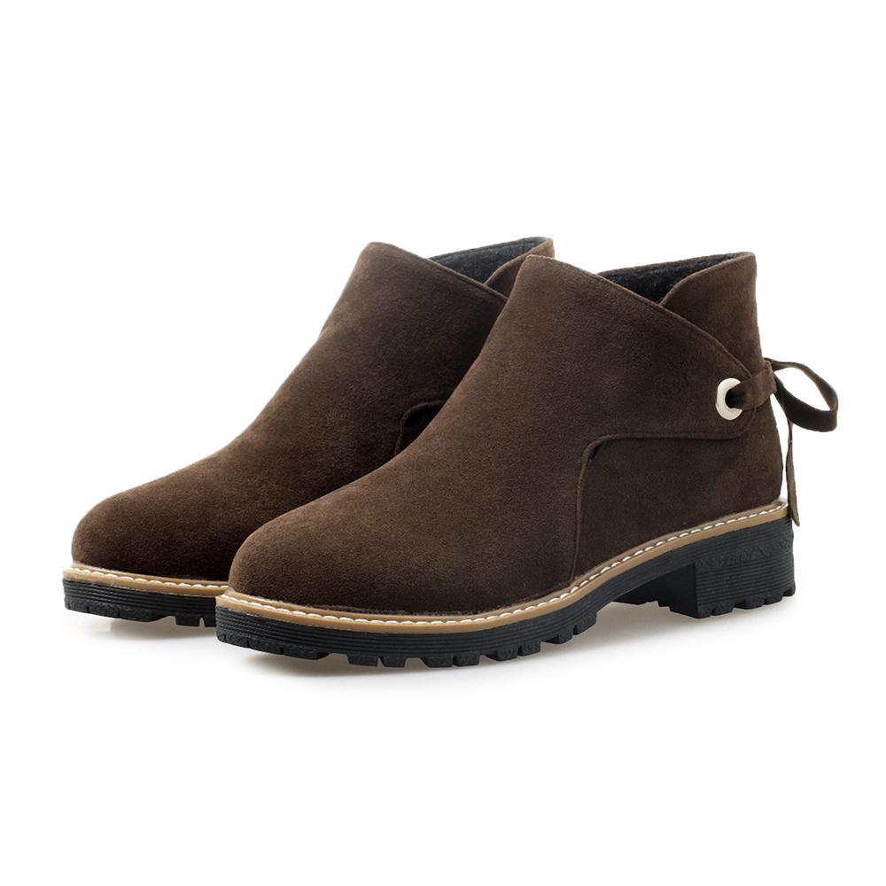 Горячие Сбывание N Обувь Женские ботильоны высокого качества Flock женщина сапоги Med квадратные каблуки ботинки женщин с большим размером 10