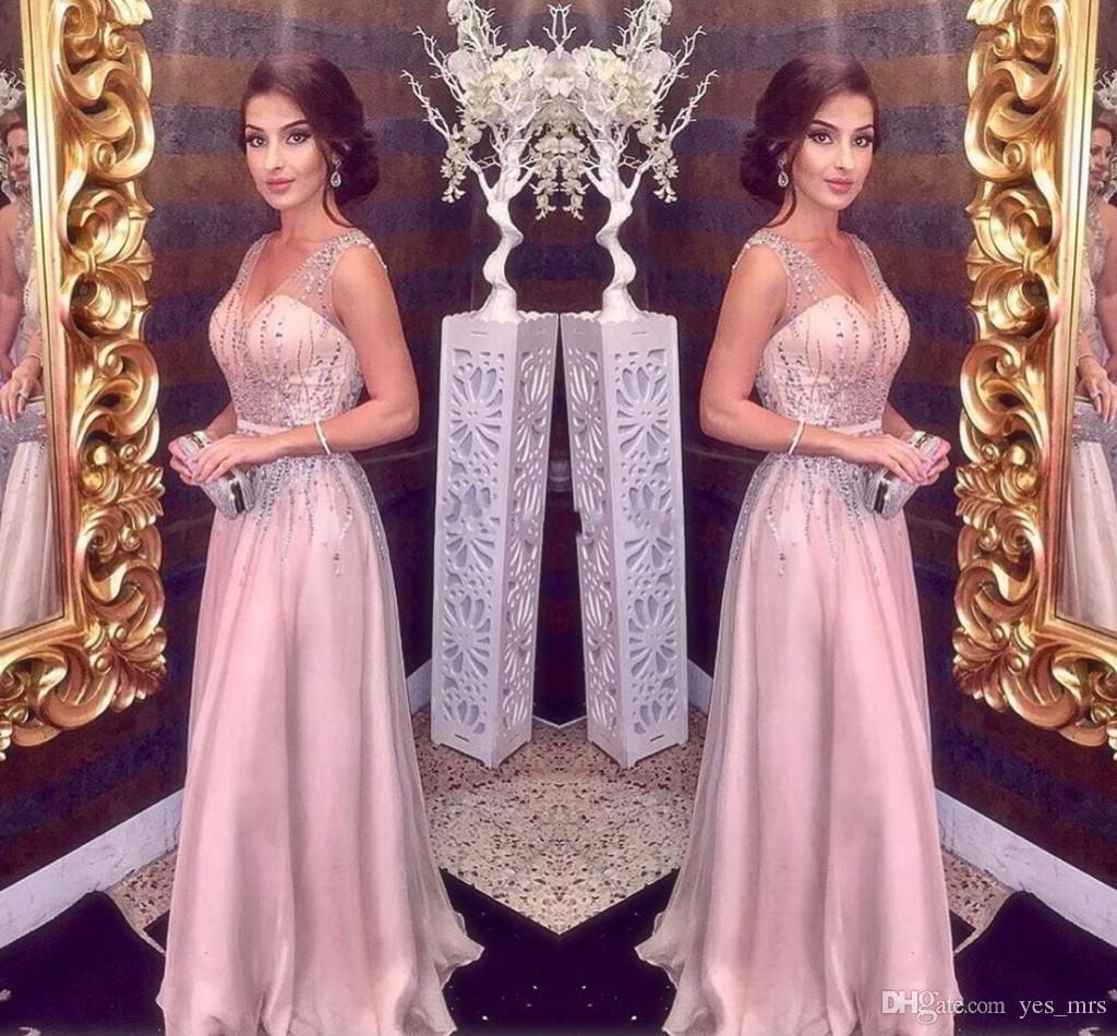 2020 Sexy Blush Rosa Uma Linha Vestidos de Noite Profundo Decote Em V Chiffon Cristal Beading Sem Mangas Até O Chão Formal Vestidos de Baile Vestidos de Noite