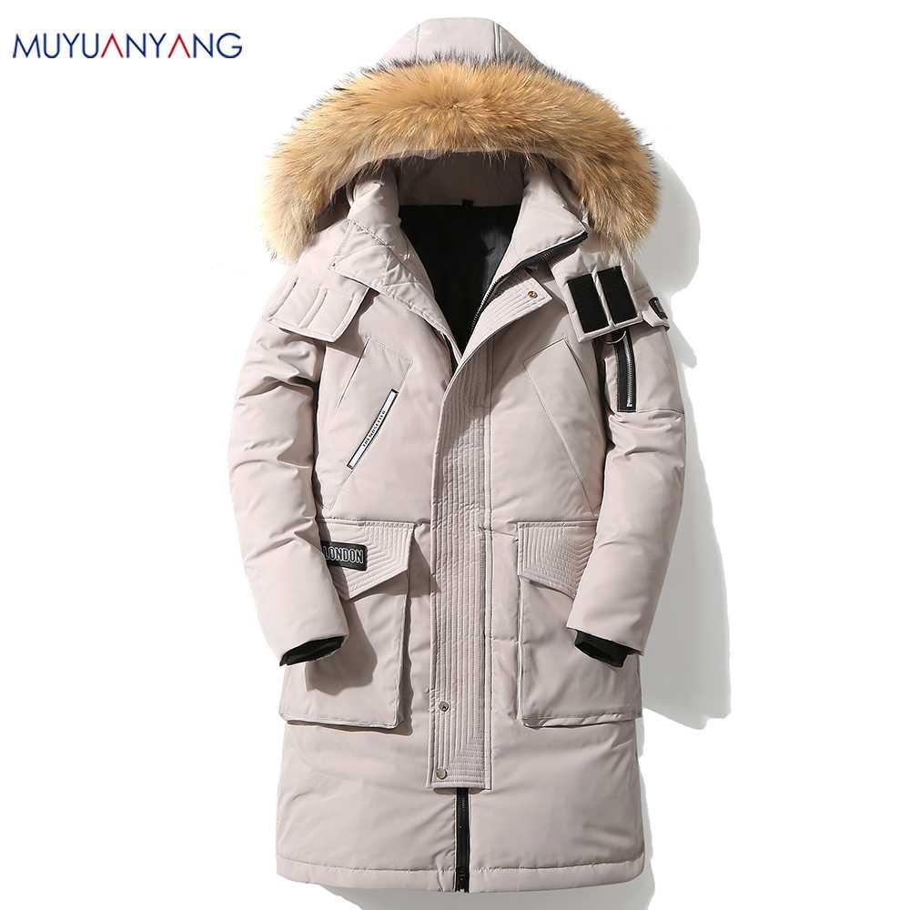 Му Юань Ян 2019 Горячая продажа зима теплая ветрозащитный Hood Men Jacket Теплый Мужчины ветровки высокого качества Parka вскользь пальто