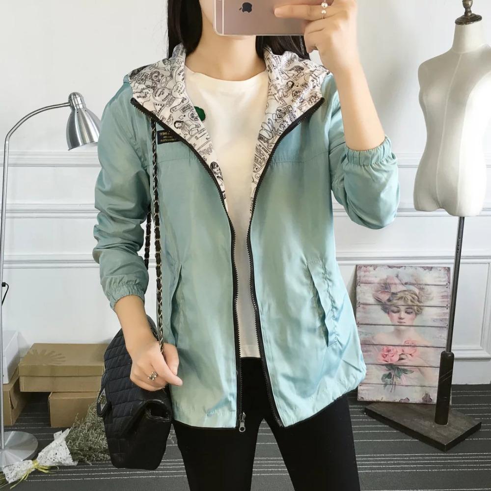 Autumn Women Bomber Basic Jacket Pocket Zipper Hooded Two Side Wear Cartoon Denim Print Outerwear Loose Coat Slim