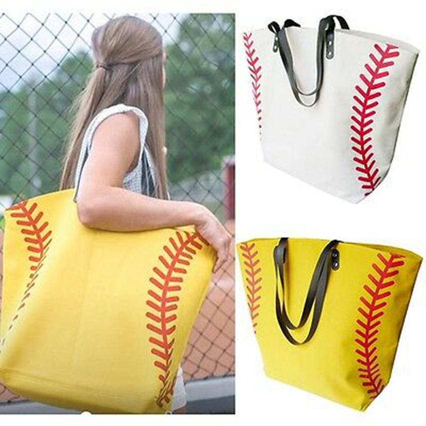 Canvas Bag Gedruckt Basketball Baseball Football Tote Tasche Sport Umhängetasche mit Hasspenschleißer Softball Handtasche 15 Farben ZZA672