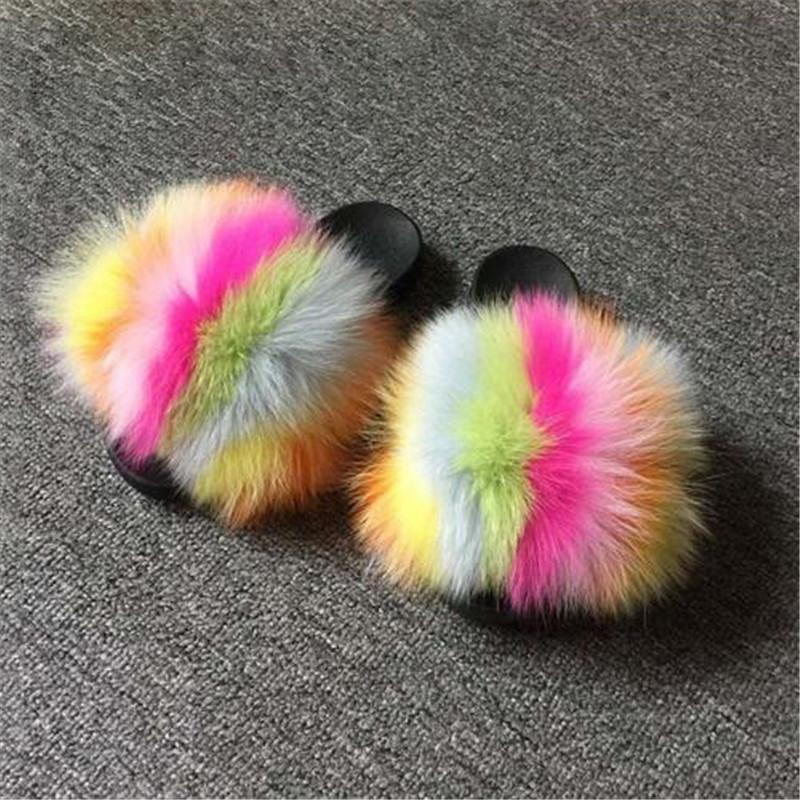 Winter-Echt Fox Haar Slipper Warm Fluffy Plüsch Schuh-Frauen-Pelz Slides Dame Pelz Flache Sandalen Weiblicher Pelz Flip Flops Frauen