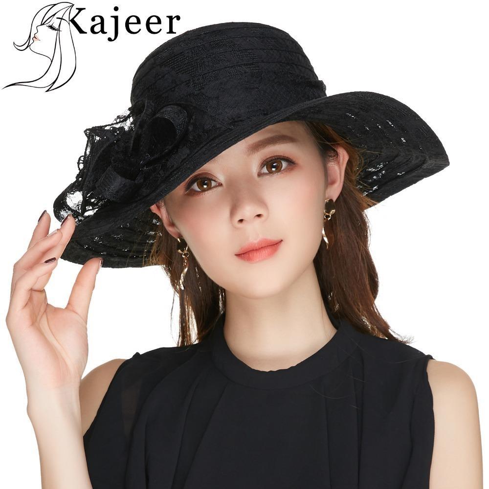 Kajeer Church Hats For Women Black Sexy Floral Crown Vintage Style Organza Fascinator Sun Hat Women Party Dance Hair Accessory D19011103