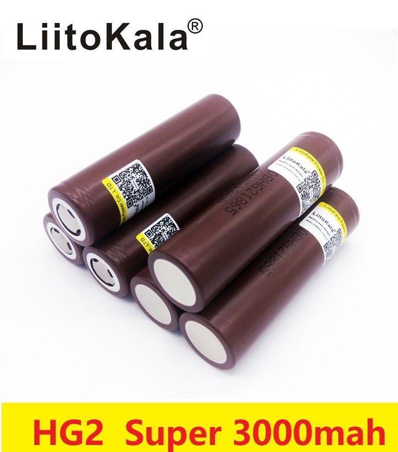 all'ingrosso LiitoKala HG2 18650 3.7V 3000mAh sigaretta elettronica a scarica ad alta potenza Accumulatore 30A grande alto potere corrente