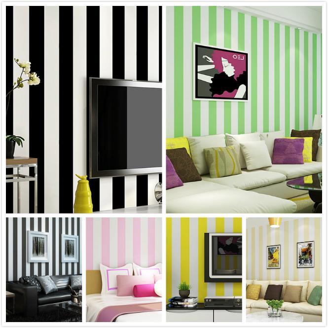 새로운 지중해 블루 간단한 검은 흰색 세로 스트라이프 벽지 TV 다시 빨간색 노란색, 녹색, 분홍색 어린이 침실 벽 롤
