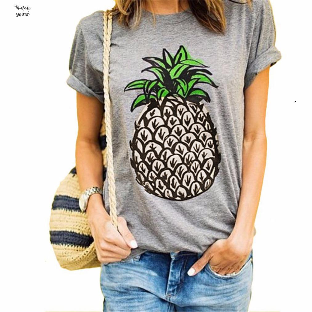 T Shirt Woman Clothes S 2Xl Female Circle Short Pineapple Printing Occasionally Summer Designer White Gray Drop Shipping