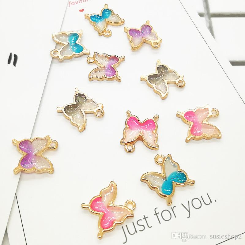Bulk 200pcs/ Lot Butterfly Charms Pendant,16*14MM, Enamel Animal Charm Fit For DIY Craft, Jewelry Making