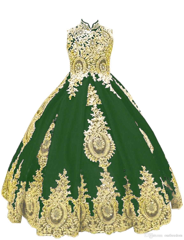 2019 Green High Neck Fleur Filles Robes Or Appliques Corset Lace Up Robes Première Communion Filles Pageant Robes Sur Mesure