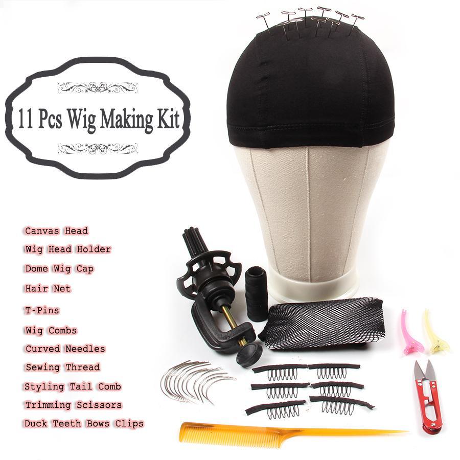 AliLeader 11 مجموعات لمة كاتب كيت قماش مع رئيس كتلة حامل قبة كاب الباروكة كومز منحني إبر T دبابيس الموضوع لجعل الشعر المستعار