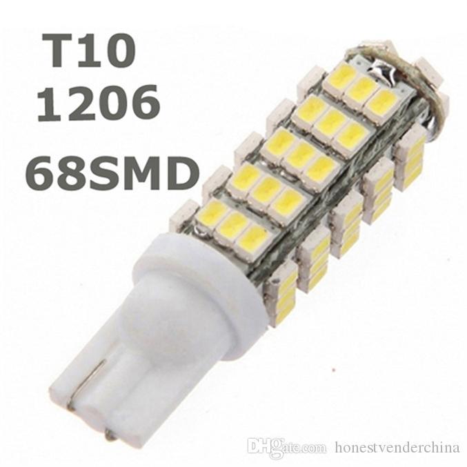 20X T10 68LED 1206 68 SMD LED Car T10 68smd 1206/3020 W5W 194 927 161 Bombilla de luz de cuña lateral para luces de matrícula
