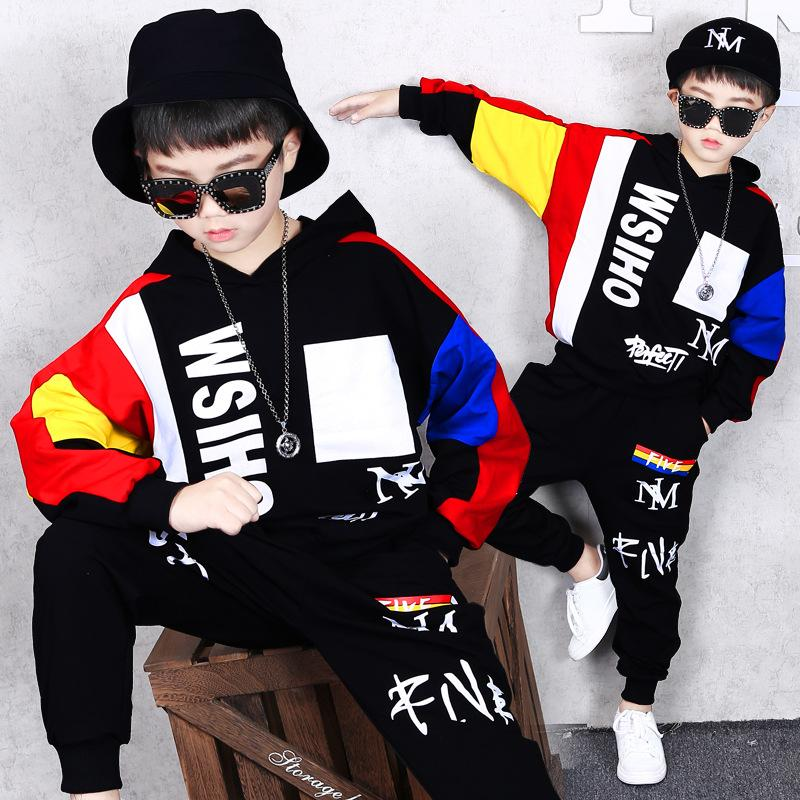 Children's Clothing Boy Autumn and Winter Clothing Set New Hip Hop Coat Trousers Boy Loose Sweater Fashion Sports Jacket Pants Two-piece
