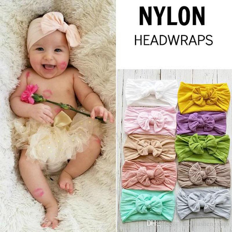 New Summer Band cheveux pour enfants bébé soie Big bowknot large bandeau en nylon Turban Turban enfants Hairband