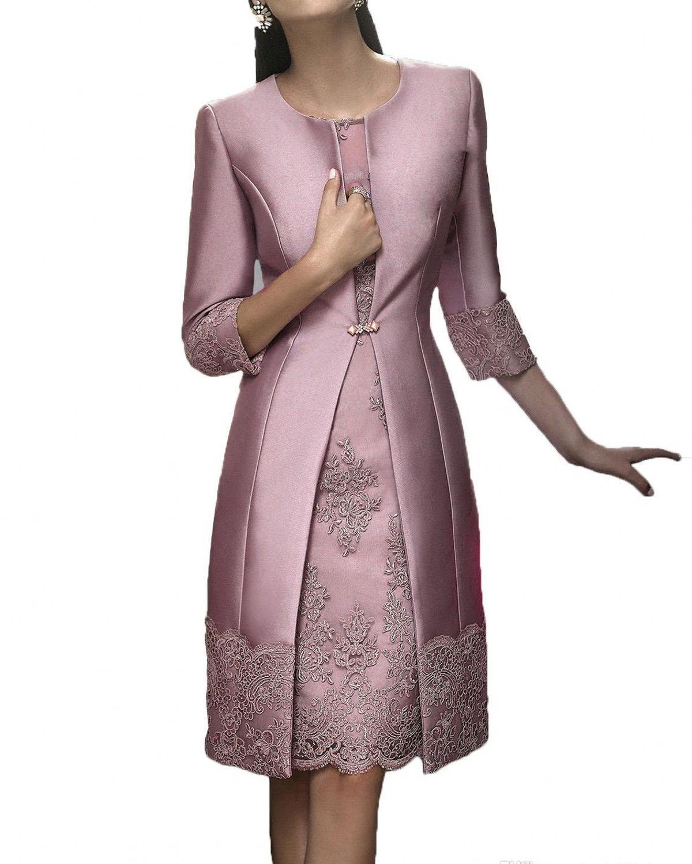 Plus Size Vintage Longueur du genou Mère Off The Epoux Costumes Veste longue en dentelle Invité Mère Appliques de robes de mariée