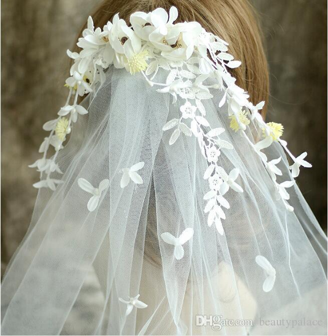 Romantic Bohemian Wedding Flower Headband With Comb Veils Bridal Flower Crown Boho Wedding Crown Brides Head Garland Hair Flowers