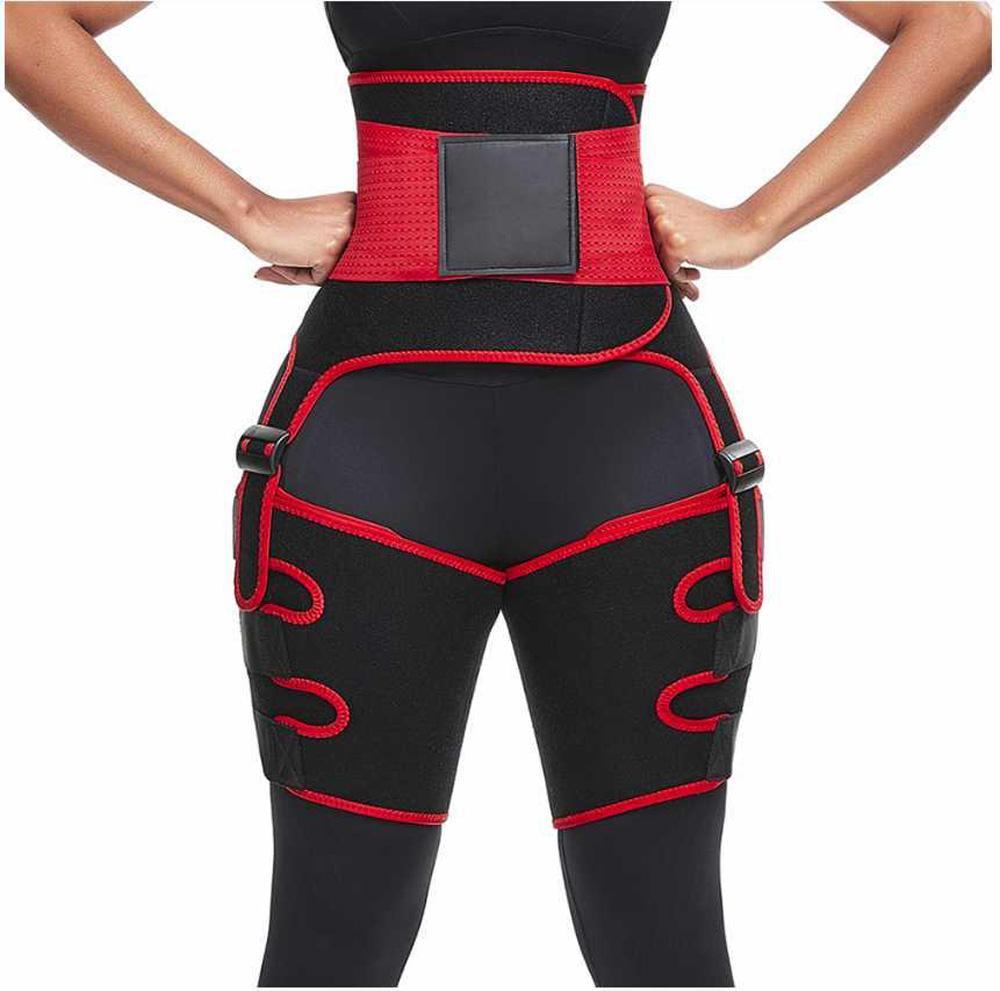 3 em 1 Mulheres Hot slim suor Coxa Trimmer Leg Shapers Push Up cintura instrutor Calças Queima de Gordura Compress emagrecimento cinto Nova