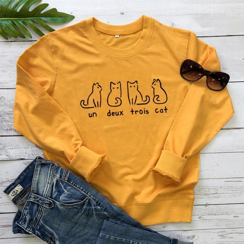 Un Deux Trois C Толстовка Котенок толстовка ПРИЧИННАЯ милые фуфайки животные любимчик Эстетическая хлопка рубашка один два три четыре Tops