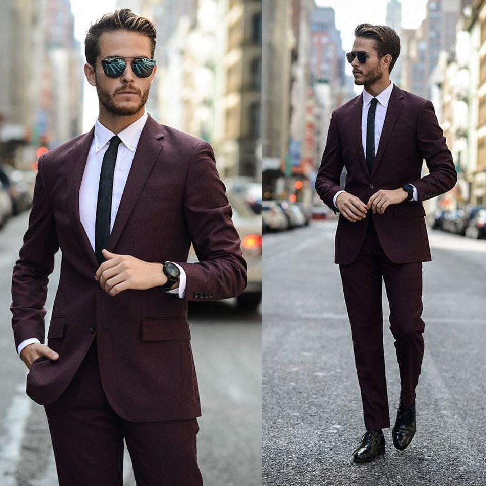 Borgogna smoking dello sposo dei vestiti di nozze per Uomo Giacche 2 Pezzi Custom Made Slim Fit Mens Prom Cena Blazer (giacca pantaloni)