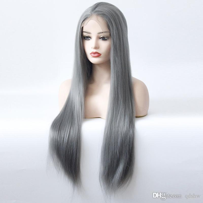 Grey Direto peruca sintética resistente ao calor de fibra com bebê cabelo longo e reto Glueless Dark Gray Cor Prata sintética rendas frente Wigs