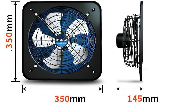 220 В 12 дюймов 60 Вт Вентилятор Вентилятор Вытяжной электрический вентилятор сильный ветер двигатель чистой меди Алюминиевый сплав лопасти вентилятора 350x350x145 мм