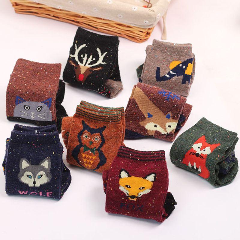 New Atumn Winter Thick Wool Cotton Crew Socks Women Harajuku Animal Deer Cat Elephant Lovely Cute Christmas Sock Hiking
