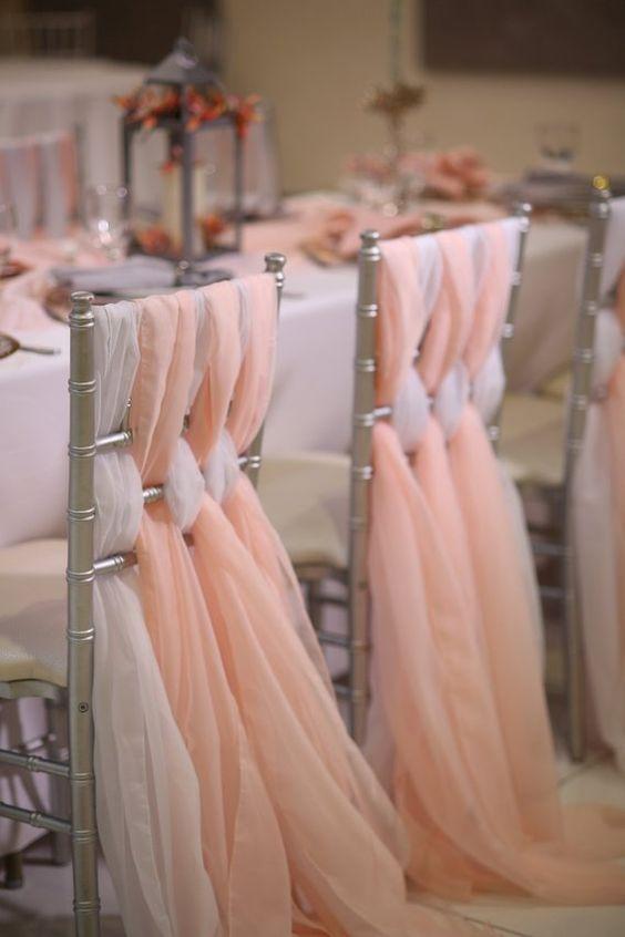 Romantic Wedding Chair Sashes Flowy Chiffon Chiavari Chair Sashes Custom Made Blush White Ivory Wedding Party Event Decorations 65*200 cm