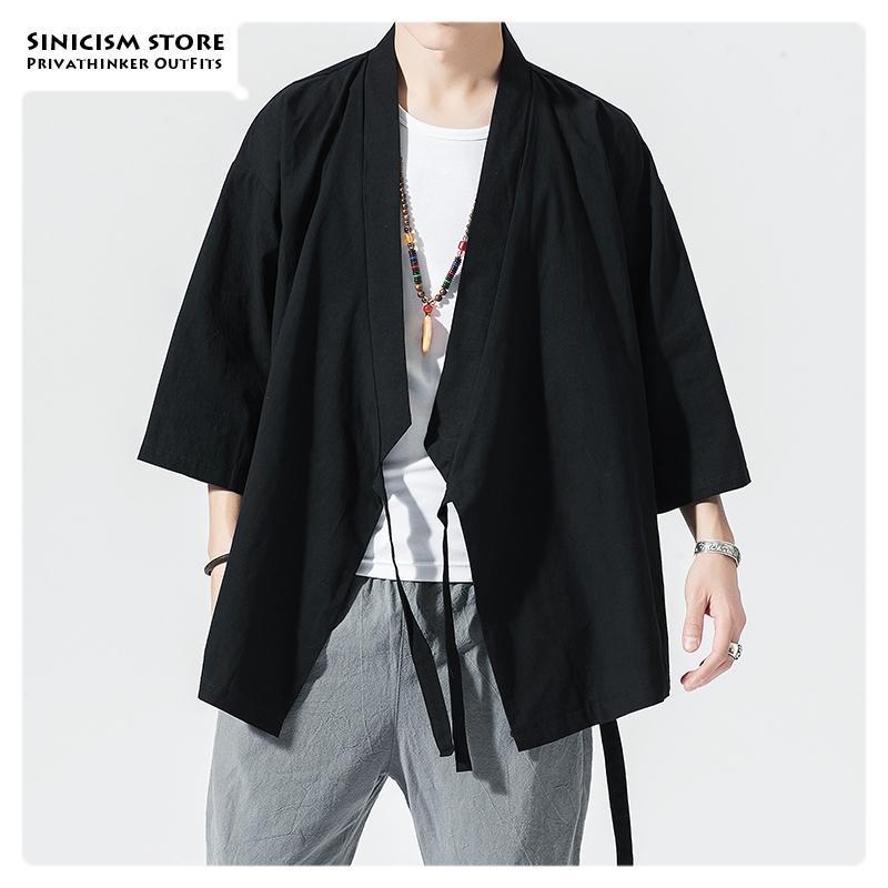 Мужские куртки SiniCism Store Мужчины Китайский стиль негабаритные винтажные 2021 мужские открытый стежок кимоно куртка одежда мужская осень черное пальто