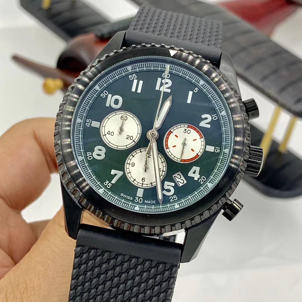 억만 장자 8 커티스 워호크 크로노 그래프 석영 녹색 고무 밴드 시계 남성 시계 발광 손과 마커 손목 시계 다이얼