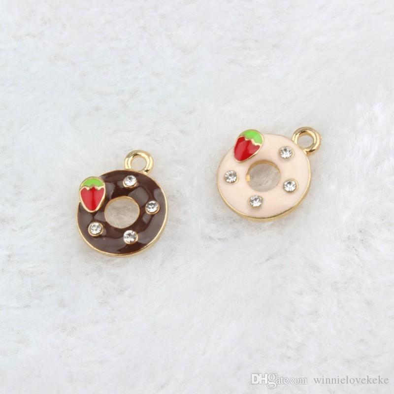 Enamel Doughnut Charms Pendant, 100PCS/lot, 13*17mm, Food Charm, Pink & Coffee colors with Clear Rhinestone and red strawberry