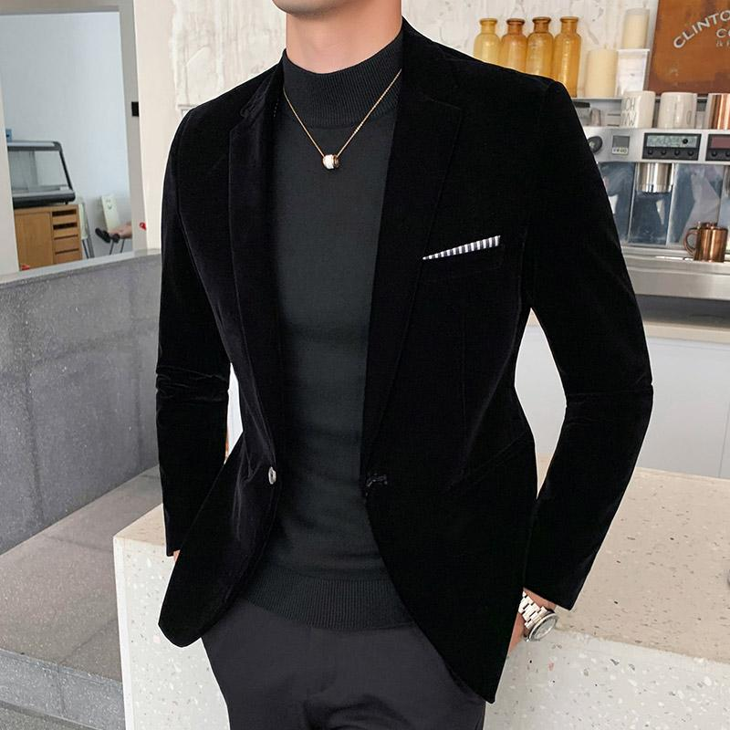 Negócios Blazers Veste traje Homme do Brasão Autum Velvet vestido de casamento Mens Blazer Jacket Moda Casual Suit JacketStage DJ Homens