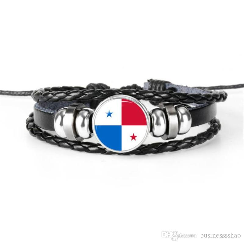 Hot Sale Handmade Braided Leather Rope Beaded Cuff Bracelet Glass Cabochon Panama National Flag World Cup Football Fan Jewelry For Mem Women