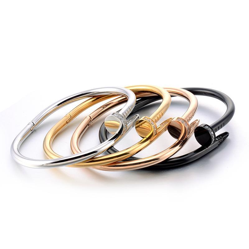 العلامة التجارية الكلاسيكية مصمم المجوهرات سوار الماس عالية الجودة التيتانيوم مسمار الكفة سوار المرأة الأزياء والمجوهرات الفاخرة أفضل عيد الحب غي