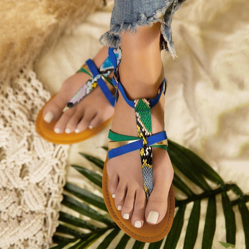 Las mujeres de Boho Serpentina sandalias zapatos de las señoras de la hebilla de correa del clip del dedo del pie zapatos planos playa punta abierta transpirable sandalias Zapatos De Mujer
