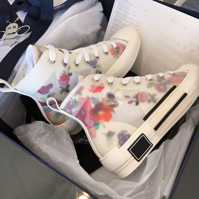 Scarpe Donna Nuovi Fiori Stampa B23 High Top Sneaker Tela Designer uomini della scarpa da tennis dei pattini casuali di lusso Lace-Up Star Fashion B23 scarpe