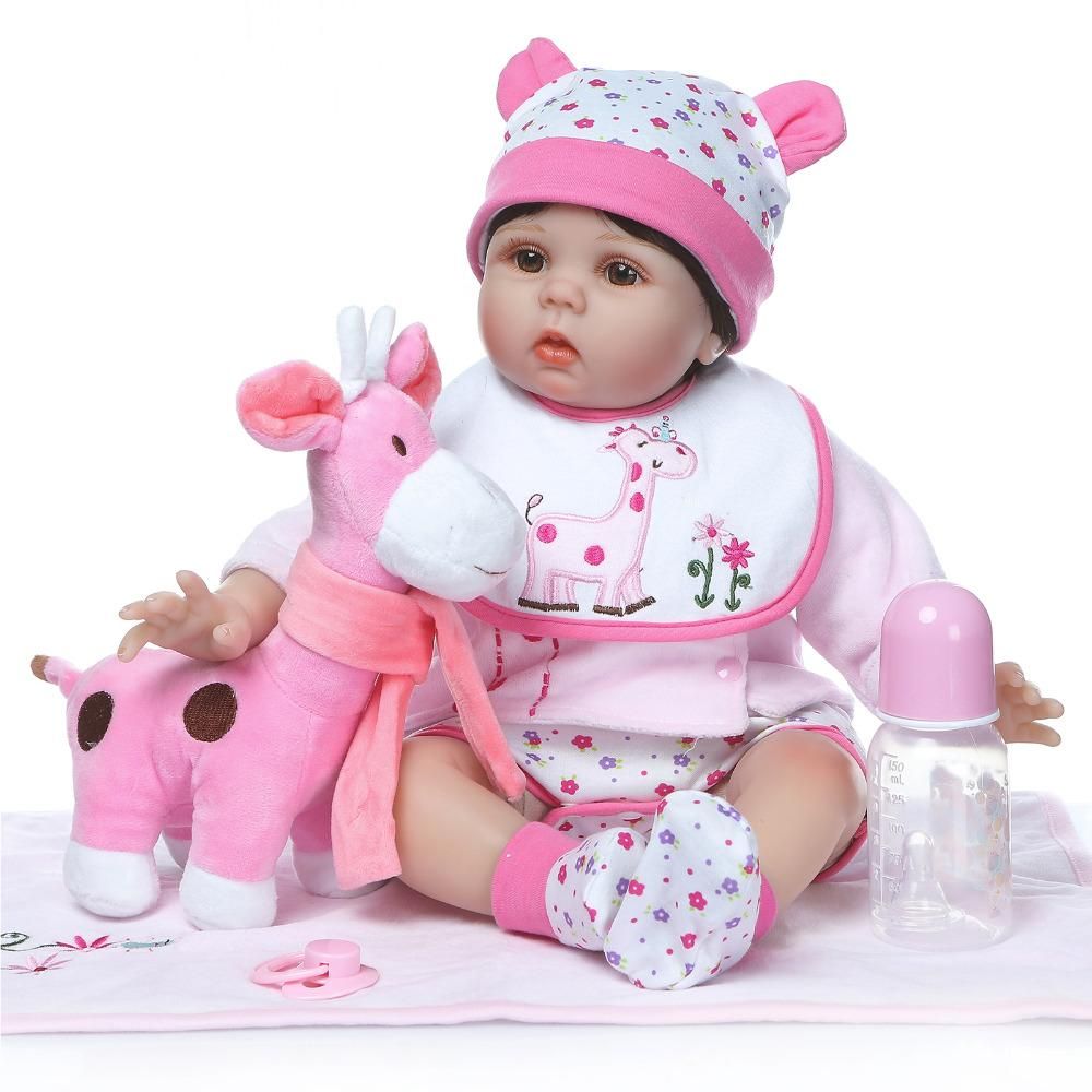 wholesale 20-22inch 50-55cm Bebe Reborn Doll Soft Silicone Boy Girl Toy Reborn Baby Doll Gift for Child Pink Deer White Bib