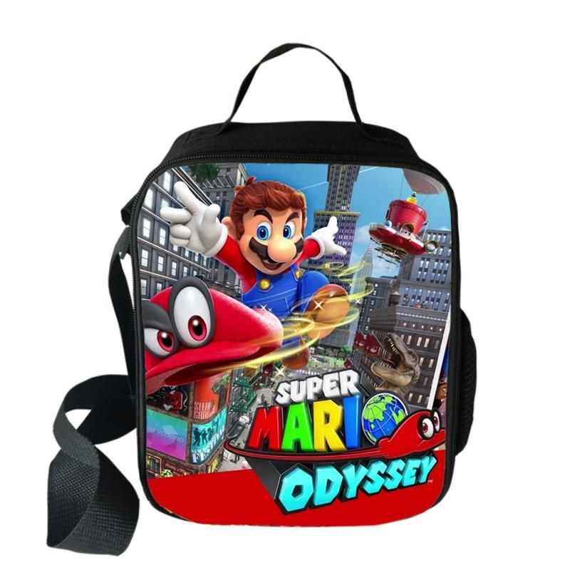 Kid Super Mario Lunch Bag Insulated Lunch Box Waterproof for School Travel Office
