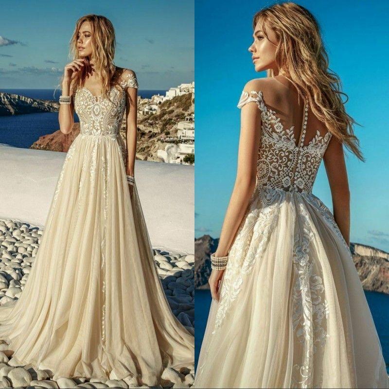 Robes de mariée Vintage Champagne Boho Beach en mousseline de soie appliques de dentelle manches courtes Une ligne robes de mariée Robe de mariee