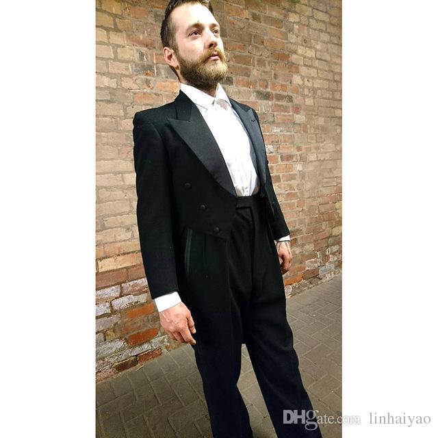 Black Tail Long Coat Stage Costume Men Suit 2018 Custom Made Men Suits Wedding Terno Tuxedos 2pcs (Jacket+Pants) Slim Mens Suits