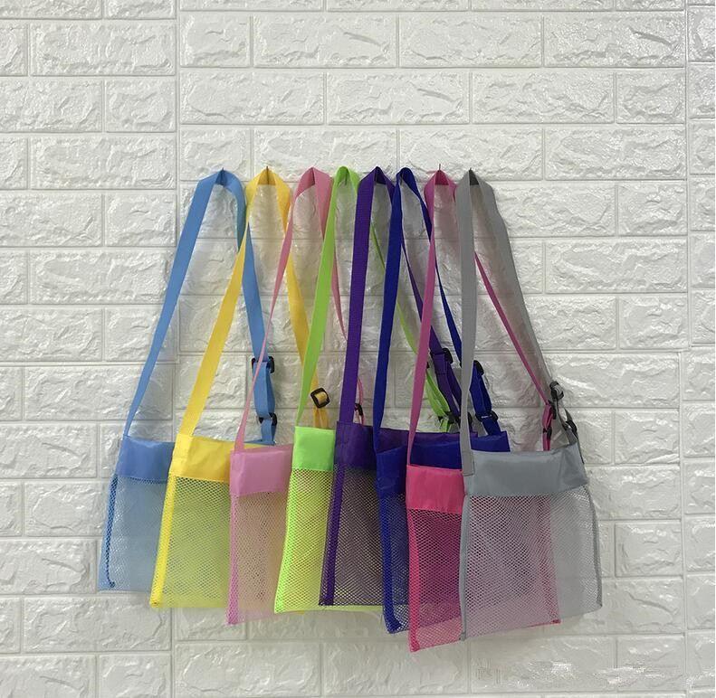 21 * 21cm Blanks enfants maille coquille jouets enfants sac de plage Coquillage de plage sac reçoivent des sacs de stockage de Coquillage