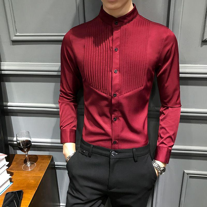 Para hombre collar del soporte Manga larga camisa a rayas patrón sólido del collar del soporte solo pecho apretado camisa marea de montaje