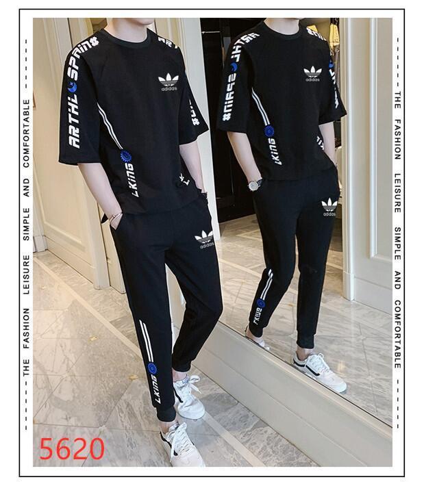 2020 новый летний мужчины футболка наборы + брюки из двух частей наборы повседневная мужская футболка бегуны узкие брюки тренажерные залы фитнес тренировочные брюки мужчины набор